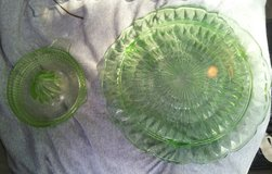 Antique Vaseline Glass Serving Plate and squeezer in Conroe, Texas