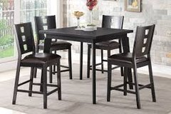 Tall Dining Room Table in Black with 4 chairs in Fort Irwin, California