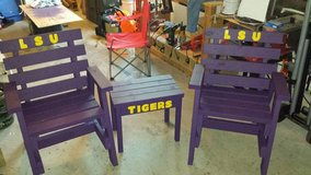 Purple and gold patio set in Fort Polk, Louisiana