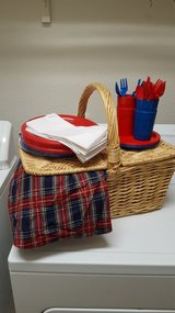Old fashioned picnic basket in Fort Sam Houston, Texas