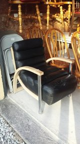 Black Leather & Wood Chair (2211-2) in Camp Lejeune, North Carolina