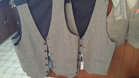 Herring bone men's vests and ring bearer vest in Cherry Point, North Carolina