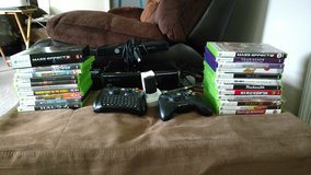 Xbox 360 Slim (250GB) with Kinect / 22 games / 2 controllers / battery charger / accessories in Camp Lejeune, North Carolina