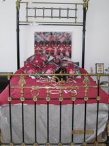 Victorian Half Tester Brass & Iron Double Bed with bx spring - Great condition in Lakenheath, UK