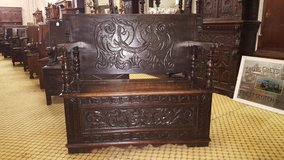 Carved Oak Green Man Monks bench date approx 1880 others available free delivery in Lakenheath, UK