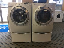 Whirlpool Duet Front Load Washer & Dryer on Pedestals - USED in Tacoma, Washington