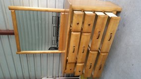 All wood dresser with mirror, has 10 drawers in good condition in Fort Bliss, Texas