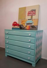 Retro 3 Drawer Wooden Dresser Hand Painted in Baytown, Texas