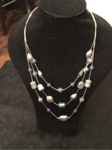 Layered Necklace blue/silver NY&Co in Joliet, Illinois