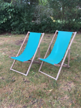 Pair of Vintage Folding Wooden Sling Chairs in Naperville, Illinois