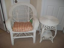 White Wicker Chair and Table in Warner Robins, Georgia