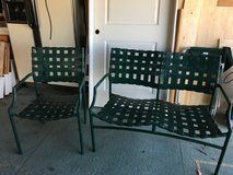 Patio green metal/vinyl bench & chair in Travis AFB, California