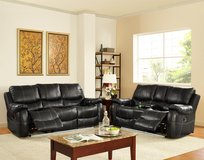 NEW BLACK SOFA AND LOVE SEAT RECLINER SET in Riverside, California