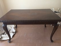 nice solid wood Louis XV style dining room table with 2 extensions in Ramstein, Germany