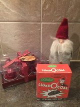 Holiday gnome ornament, tea light set and 'lump O' coal' in Wheaton, Illinois