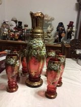 Vintage Czech Bohemian Hand painted crystal pitcher set in Fort Leonard Wood, Missouri