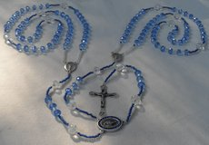 Lasso Wedding Rosary Czech Crystal Ice Blue Glass Beads Special Medal Blue Crystals Our Lady of ... in Houston, Texas