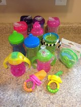 Assorted sippy cups, feeding mesh bags and formula dispenser in Glendale Heights, Illinois