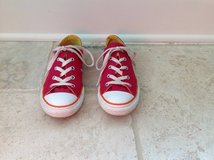 Girls Dark Pink and Orange Converse Shoes Size 3 in Bolingbrook, Illinois