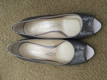 *REDUCED* Caparros Macy's silver sparkle open toed heels 9 prom wedding ball in Beaufort, South Carolina