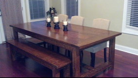 Farmhouse style table with bench - 8 ft. Custom made in Cherry Point, North Carolina