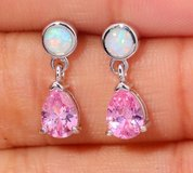 New - Dainty Pink Topaz and White Fire Opal Earrings in Alamogordo, New Mexico