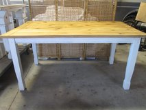 Farmhouse kitchen dining table natural stained pine w/ painted white legs seats 6 in Morris, Illinois