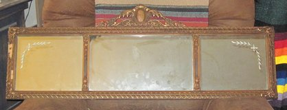 Antique Wall Mirror with Carved Frame and Corner Etching in Alamogordo, New Mexico