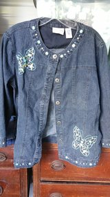 Size 12 womens jean jacket in Leesville, Louisiana