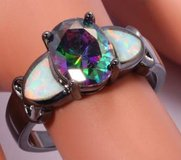 New - Rainbow Topaz, White Fire Opal and Black Ring - Size 7 in Alamogordo, New Mexico