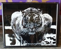 Crouching Tiger painting on glass in Nellis AFB, Nevada
