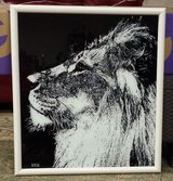 Lions Head painting #2 on glass in Nellis AFB, Nevada
