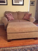 Love seat and ottoman. Very good condition. Rarely used. in Aiken, South Carolina