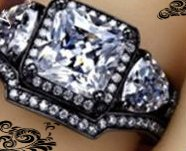 New - Clear Princess Cut and Black Ring with Guard - Size 8 in Alamogordo, New Mexico