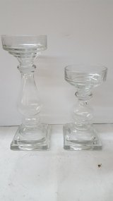 "Clear Glass Candle Holder Set 9"" & 11"" in Kingwood, Texas"
