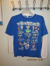 Boys XL Comical Graphic T-shirt - Royal Blue and White Long Sleeve in Joliet, Illinois