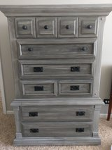 Beautifully Restored solid wood dresser in Grey in Lockport, Illinois