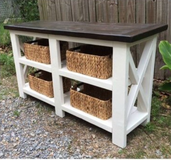 Wood X frame console entry way table end tables in Camp Lejeune, North Carolina