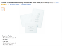 Gartner Studios Border Wedding Invitation Kit, Pearl White, 50-Count in Ramstein, Germany