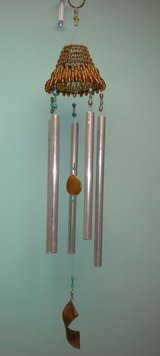 Amber & Turquoise Colored Wind Chime-Hand Made in Wheaton, Illinois
