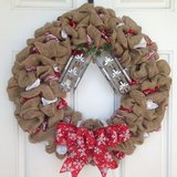Christmas Snowflake Burlap Wreath in Beaufort, South Carolina