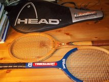 TRIO GOLD CRESCENT   AND  WILSON YOUTH TOURNAMENT TENNIS RACKETS WITH HEAD CASE in Perry, Georgia