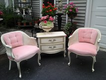 vintage paris chic cane barrel chairs with pink velvet in Naperville, Illinois