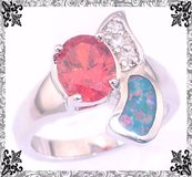 New Blue Fire Opal and Orange Garnet Ring - Size 7 in Alamogordo, New Mexico