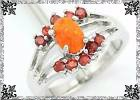 New Orange Fire Opal and Garnet Ring - Size 6 1/2 in Alamogordo, New Mexico