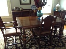 1930's Dark English Oak Buffet, table w/ pads and 6 chairs in Beaufort, South Carolina