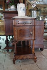 elegant walnut night stand with white Italian marble top in Ramstein, Germany