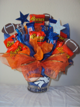 CHOCOLATE candy basket bouquet arrangement-DENVER BRONCOS in Fort Bliss, Texas