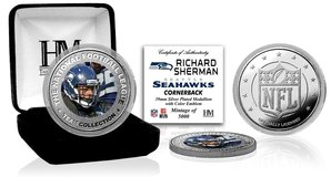 *** Richard Sherman NFL Logo Silver Plated & Color Coin with C.O.A. *** NEW *** in Tacoma, Washington