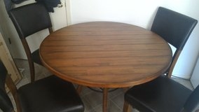 Solid Wood Round Kitchen Table w/ 4 Chairs in Belleville, Illinois